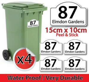 x4 WHEELIE BIN NUMBERS CUSTOMIZED HOUSE NUMBER AND ROAD STREET NAME STICKERS