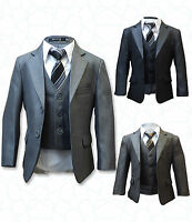 BOYS FORMAL 5 PIECE SUITS, PAGE BOY PROM WEDDING SUIT IN GREY, BROWN AGE 1 TO 15