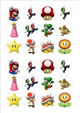 Super Mario Edible Fairy Cup Cake Decoration Toppers Rice Paper x 24 SM2