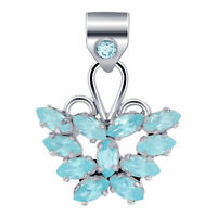 925 Sterling Silver Genuine Blue Topaz Bali Design Butterfly Pendant #CP091