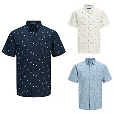 JACK&JONES Hombre Camisa Larga Corta Vestir Casual estampados slim fit 23031