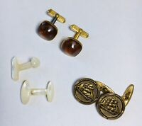 Lot Of Vintage Antique Cufflinks Mother Of Pearl Swank Lucite Brass Tall Ships
