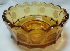 Vintage Amber Glass Serving Bowl Dish Fostoria Liberty Bell 1886 Collector Coins