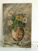 tableau ancien huile sur toile marouflé sur panneau CARPENTIER (XX) nature morte
