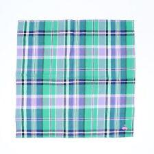 "Brooks Brothers Mens Cotton Pocket Square Green Blue Purple White Plaid 13.5"""