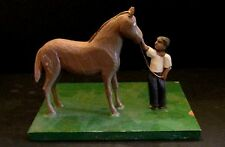 Hand Carved Horse With Black Americana Negro Child Groom  Holding Lead Wood