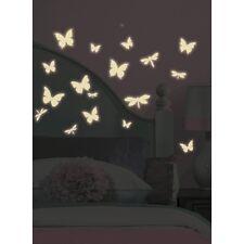 DRAGONFLIES & BUTTERFLIES wall stickers 80 GLOW IN DARK decals room decor bugs
