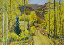 NM Fall Forest Mountains Landscape 27x19 Original Phil Yost Watercolor Painting