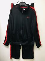 Nike Men's Track Basketball Pants & Jacket Activewear Black And Red Striped Sz L