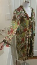 TS Medium dress tunic 2 pc brown green multi crinkle poly w stretch