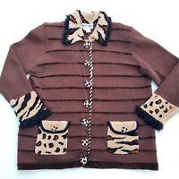 Jack B Quick Womens 1X Cardigan Sweater Mixed Animal Print Brown Knit