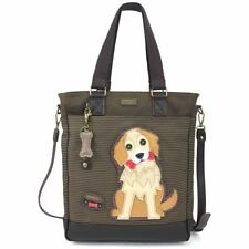 NEW CHALA BROWN STRIPE GOLDEN RETRIEVER DOG WORK TOTE PURSE FAUX LEATHER CANVAS