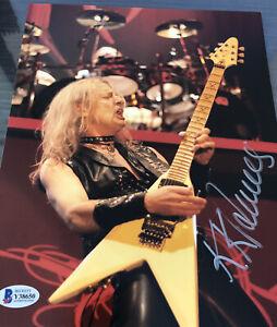 Rare KK Downing Hand Signed Photo Autographed Beckett BAS COA Judas Priest Wow