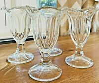 **VTG/RETRO ICE CREAM SUNDAE/TULIP FOOTED GLASSES—Set of 4--SEE PHOTOS!!**