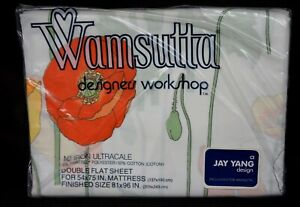 """NEW Sealed JAY YANG for WAMSUTTA ~ 1 DOUBLE FLAT SHEET """"GROWING POPPIES"""""""