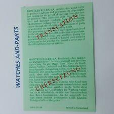 Rolex Vintage Translation Leaflet 1988 NEW NOS GENUINE ORIGINAL 569.00.20.6.88