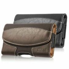 Horizontal Leather Carrying Pouch Case Cover Belt Clip Holster For Large Phones