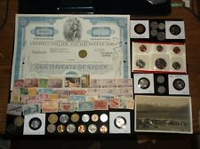HUGE JUNK Drawer Coin Lot MINT Coins+Old Stamps+Old Coins Stock+WWII coins+Token