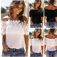 Sexy Women Off Shoulder Casual Tops Blouse Lace Crochet Chiffon Shirt Plus