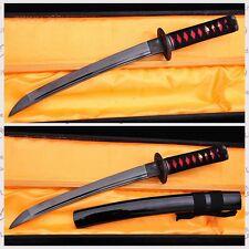 "20"" HAND MADE FULL BLACK JAPANESE SAMURAI TANTO SWORD BLACK BLADE MUSASHI TSUBA"