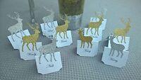 Beautiful Handmade x10 White Wedding Table Name Settings - With Reindeer - x'mas