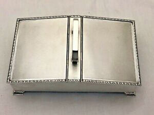 Large Vintage Solid Silver Double Desk Tidy Jewellery Box 805g (1282-9-KGN)