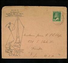 Postal History France Scott #189 Art Deco fashion Ad 1920's Paris Trenton NJ USA
