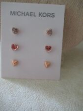 f700f1ada Michael Kors Logo Love Stud Earrings Set/ 3 Pairs/ Gold Tone Hearts #71