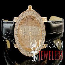 New Rose Gold Real Diamond Mens Khronos Jojino Joe Rodeo 2 Row Bezel Steel Watch