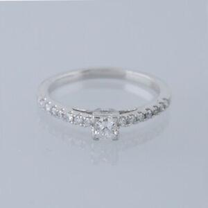 0.22 Carat Princess Cut Diamond Solitaire Ring 9ct White Gold