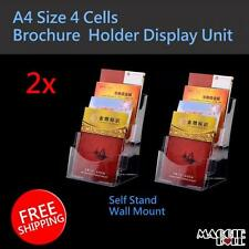 2pcs A4 Size 4 cells Wall Mount Table Top Brochure / Pamphlet Holder Display