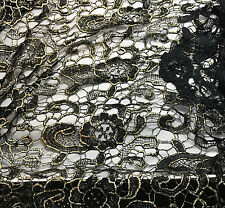 Black & Metallic Gold Fan Floral LACE Fabric 1/4 yard remnant