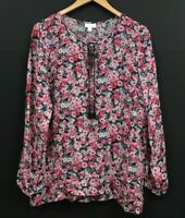 J. JILL Women's Multicolor Floral Tunic Top Long Sleeve Rayon Blouse sz M Medium
