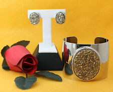 Fun Fashion Silver Tone Wide Cuff Bracelet & Matching Stud Earrings Jewelry Set
