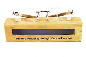 GEORGIO CAPONI GENUINE BAMBOO WOOD UNISEX RIMLESS READERS