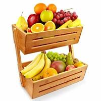 2-Tier Bamboo Countertop Fruit Basket Holder & Decorative Bowl Stand Detachable
