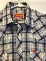 ELY Plains Striped Western Pearl Snap Shirt Men's Sz Medium Vintage
