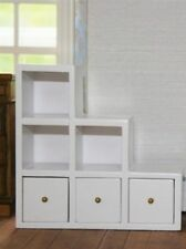 White Modern Shelf Unit With Drawers, Right side, Dolls House Miniature
