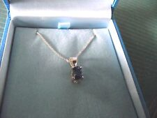 """Silver Necklace with Blue stone - 18"""" Chain"""