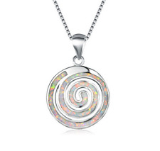 Fashion Woman 925 Silver White Fire Opal Charm Pendant Necklace Chain NEW