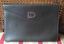 Delvaux Chocolate Brown Pebbled Leather Envelope Clutch