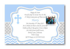 30 Personalised Boys Blue First , 1st Holy Communion Invitations / Invite ZZP