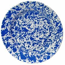 Crow Canyon Enamelware Dinner Plate 25cm in Blue Marble Enamel D20DBM