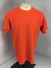 VTG 80s Stussy Orange Gray Stripped Terry Cloth S/S T-Shirt Classic Style Sz XL