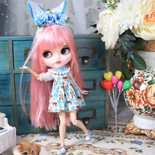 """12"""" Blythe Nude Doll from Factory Pink Long Hair Eyebrow Mouth+Big Rabbit Tooth"""
