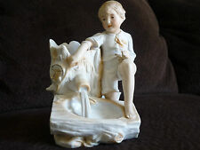 VINTAGE BISQUE PORCELAIN BOY & PLANTER/ GERMAN?/HAND PAINTED
