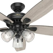 Hunter Fan 52 inch Contemporary Ceiling Fan in Matte Black with LED Light