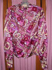 Size M Vintage Pink & Purple Print Long Sleeve Blouse Retro Halloween Costume