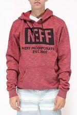 New NEFF Mens New World Winter Fleece Hoodie Sweater Maroon Red Medium M BW1