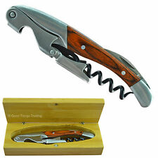 Corkscrew Wine Bottle Opener Grunwerg Double Reach Waiters Friend Wood Gift Box
